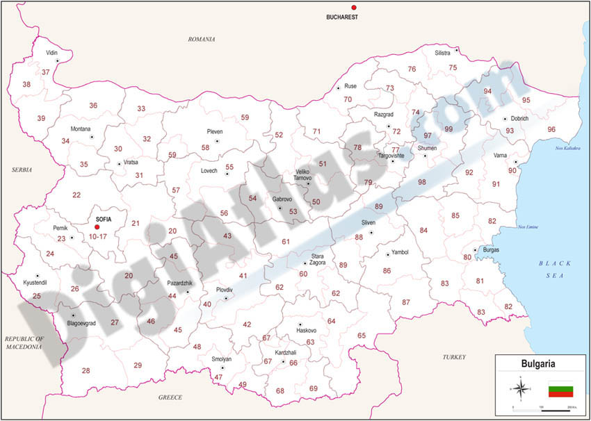 Map of Bulgaria with regions and Postal Codes