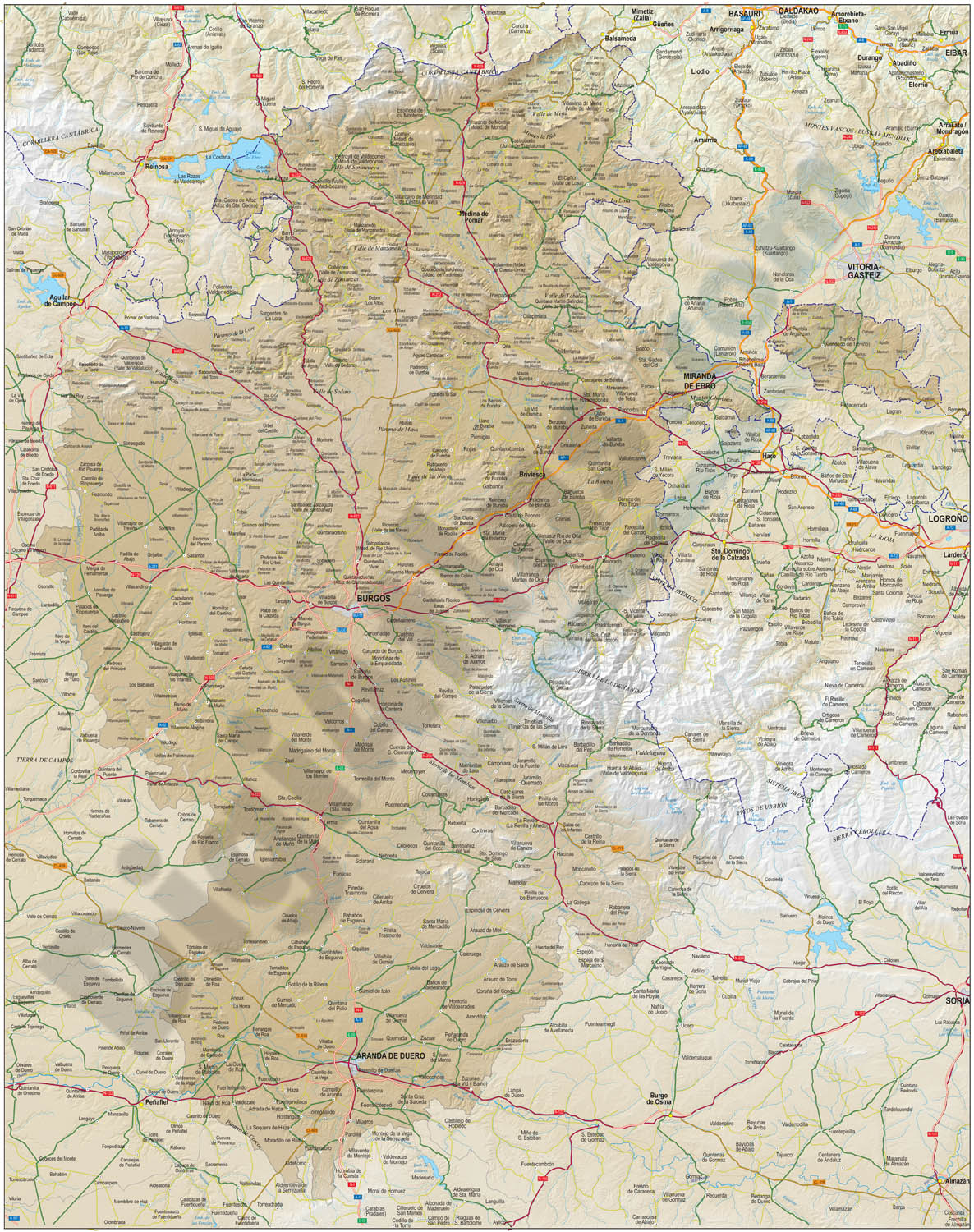 Mapa de la provincia de Burgos