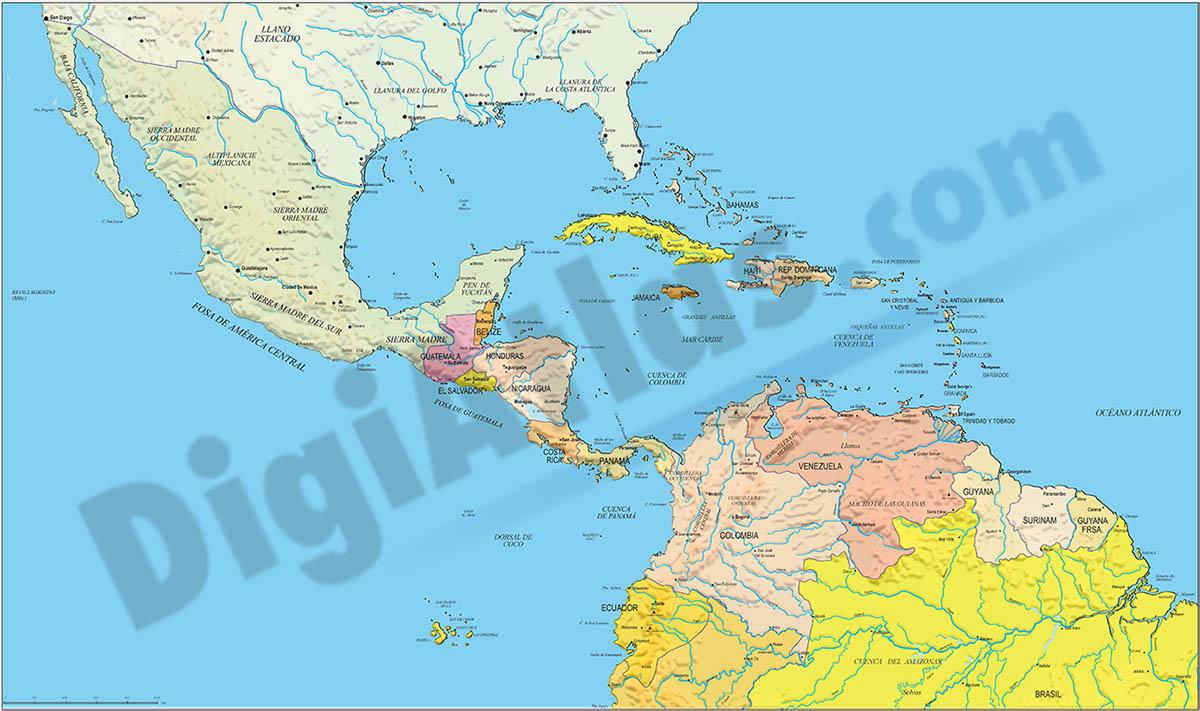 Central America political map