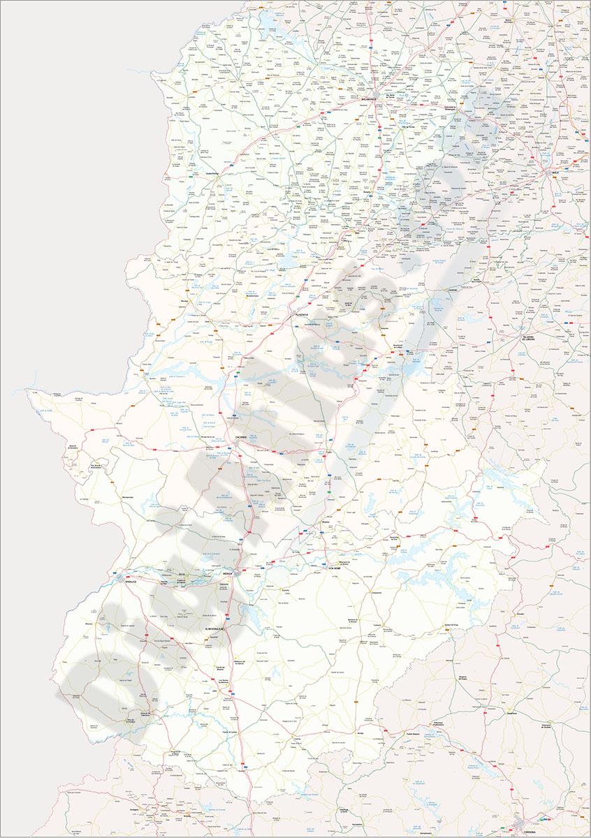 Mapa vectorial de Cáceres-Badajoz-Salamanca
