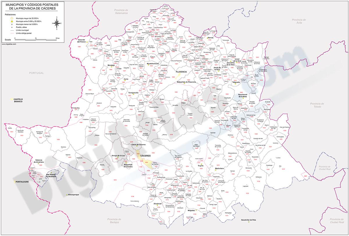 Cáceres - mapa provincial con municipios y Códigos Postales