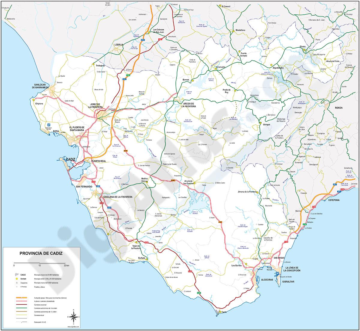 Mapa de la provincia de Cadiz