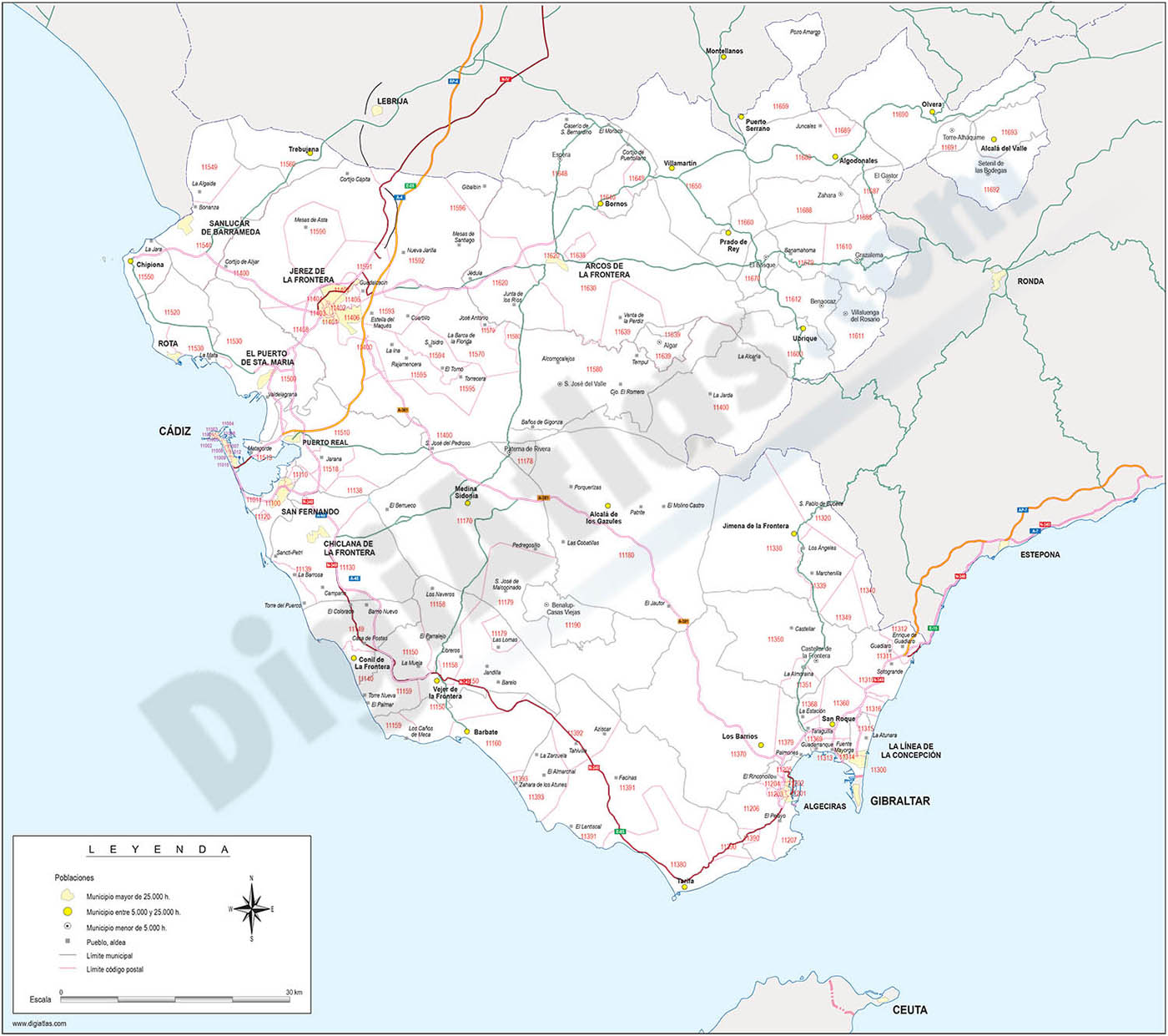 Map of Cadiz province with municipalities, postal codes and major roads