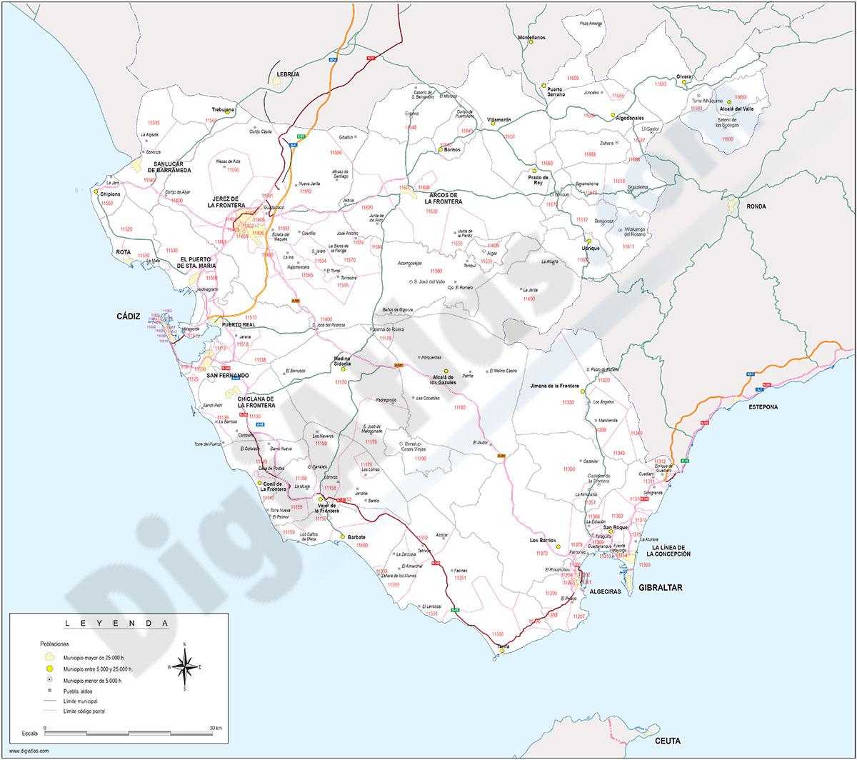 Cádiz - mapa provincial con municipios, Códigos Postales y carreteras.