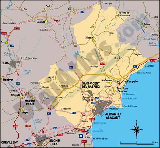 Map of Comarca of Alacantí (Valencian Community, Spain)
