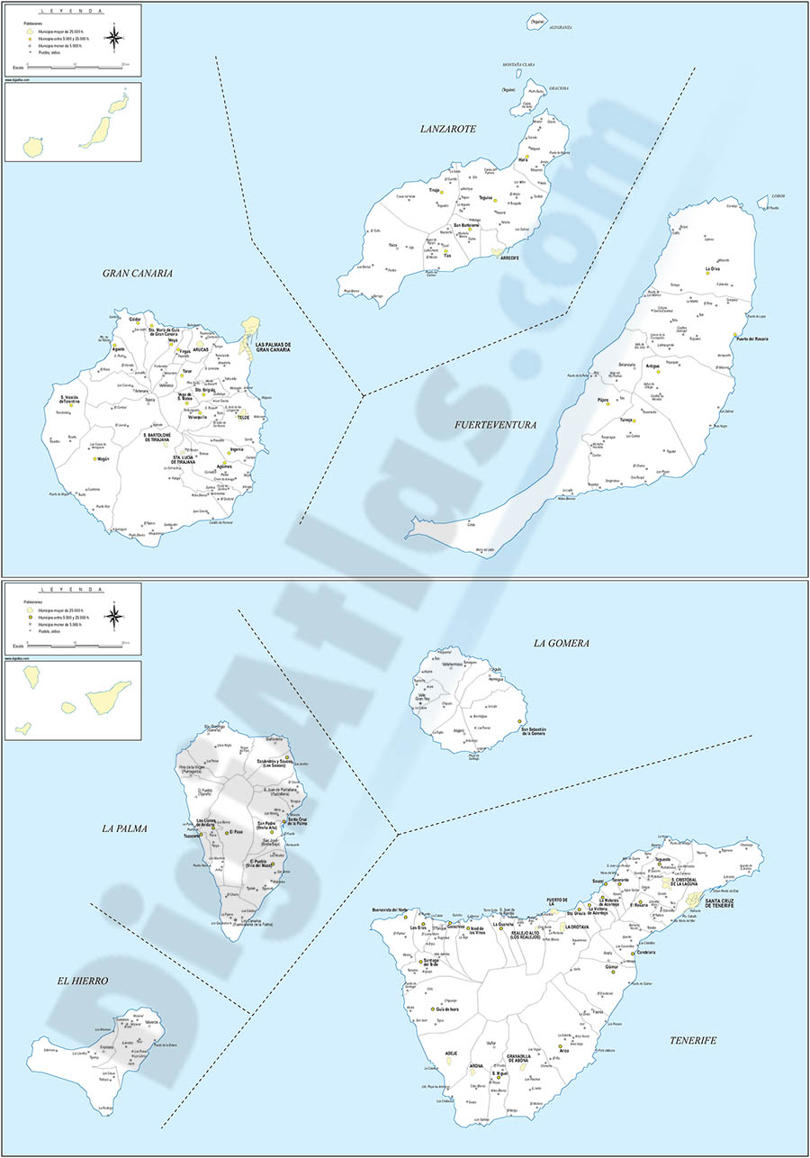 Map of Canary Islands (Spain) with municipalities