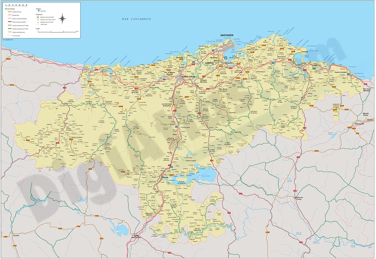 Mapa de la provincia de Cantabria
