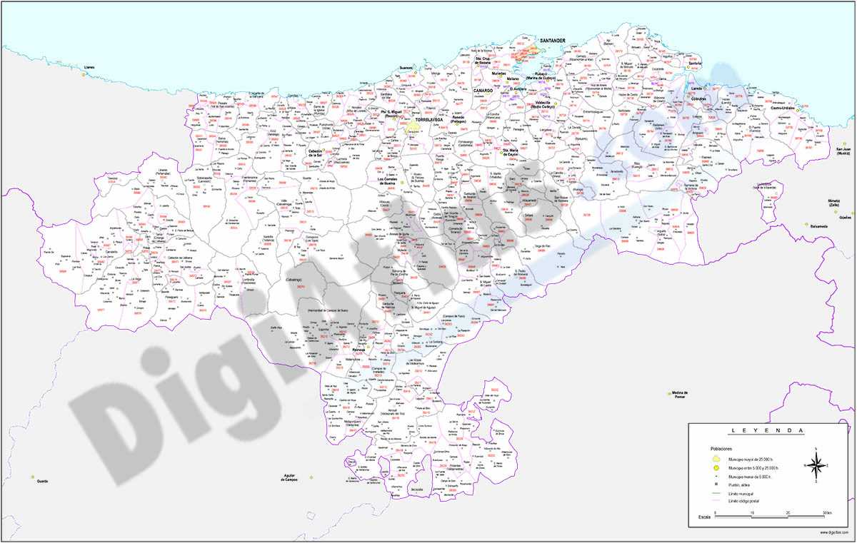 Map of Cantabria autonomous community with municipalities and postal codes