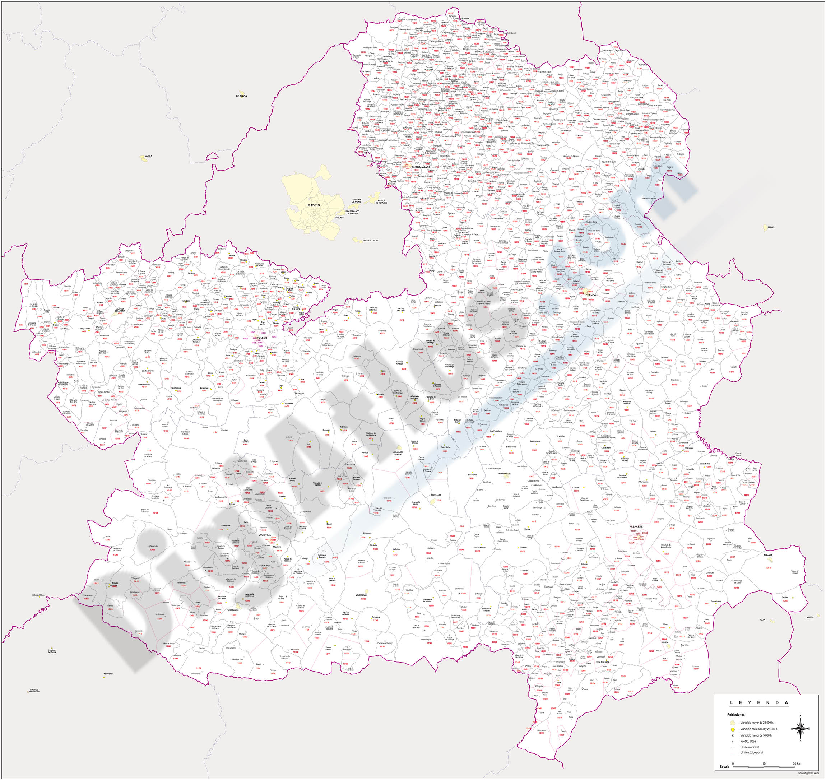 Castile-La Mancha - map of postal codes and municipalities