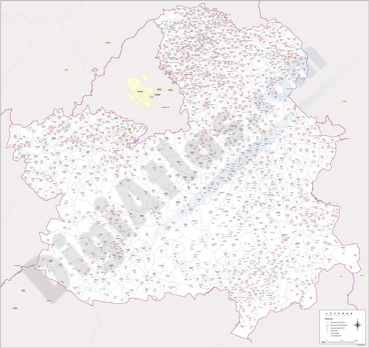 Castilla La Mancha - Mapa de códigos postales y municipios