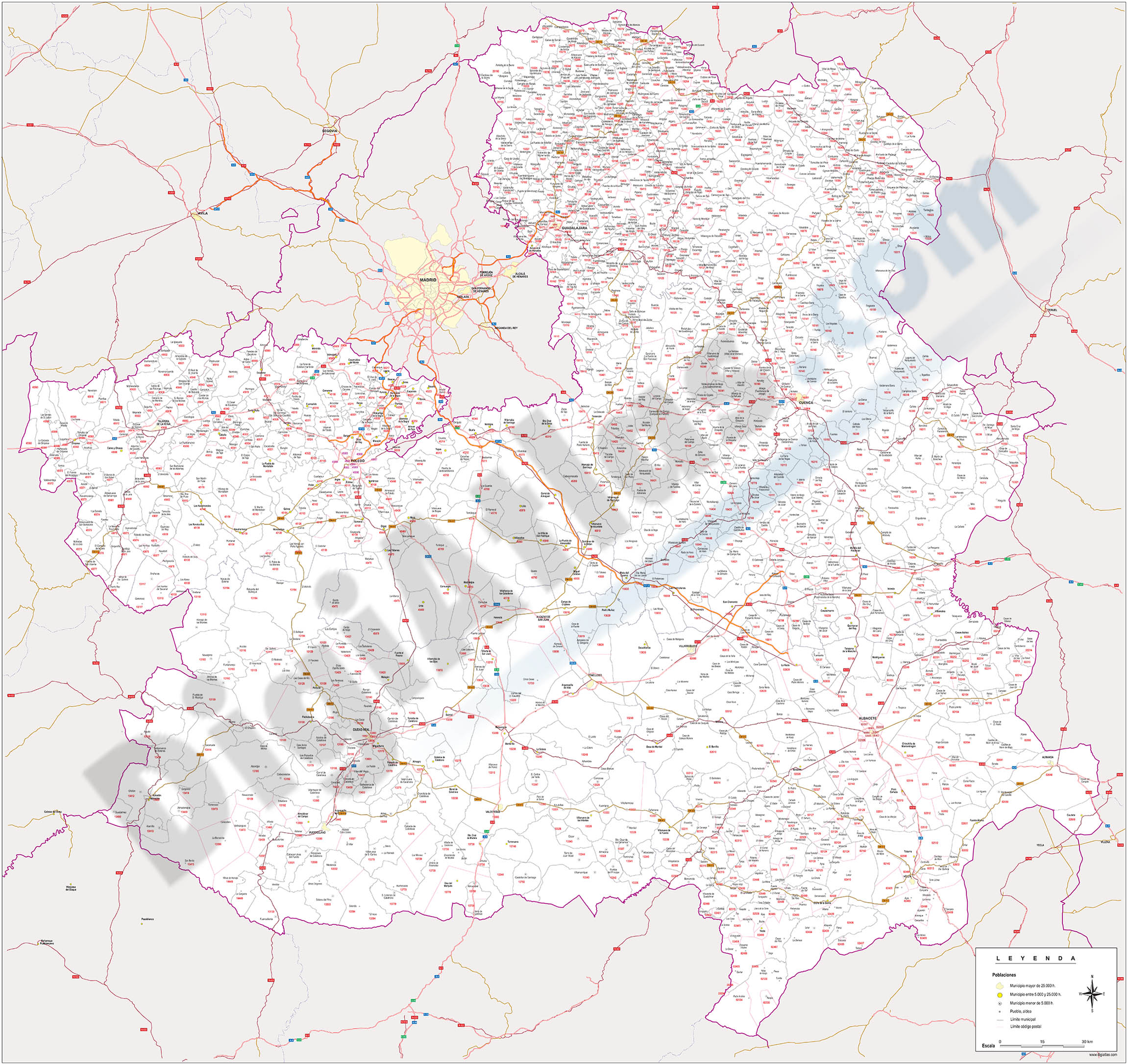 Castile-La Mancha - map of postal codes, municipalities and major roads