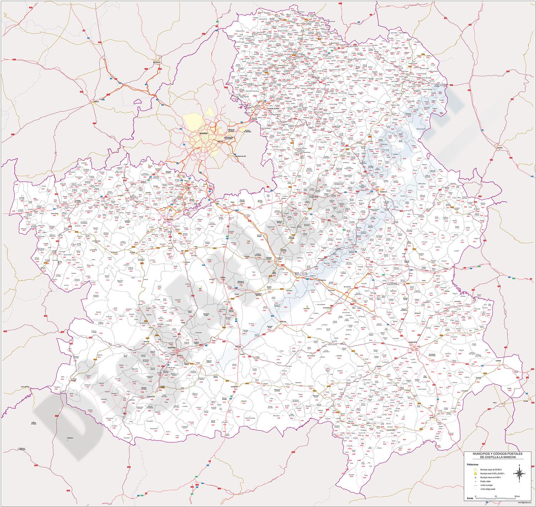 Castile-La Mancha - map of postal codes, municipalities and major roads
