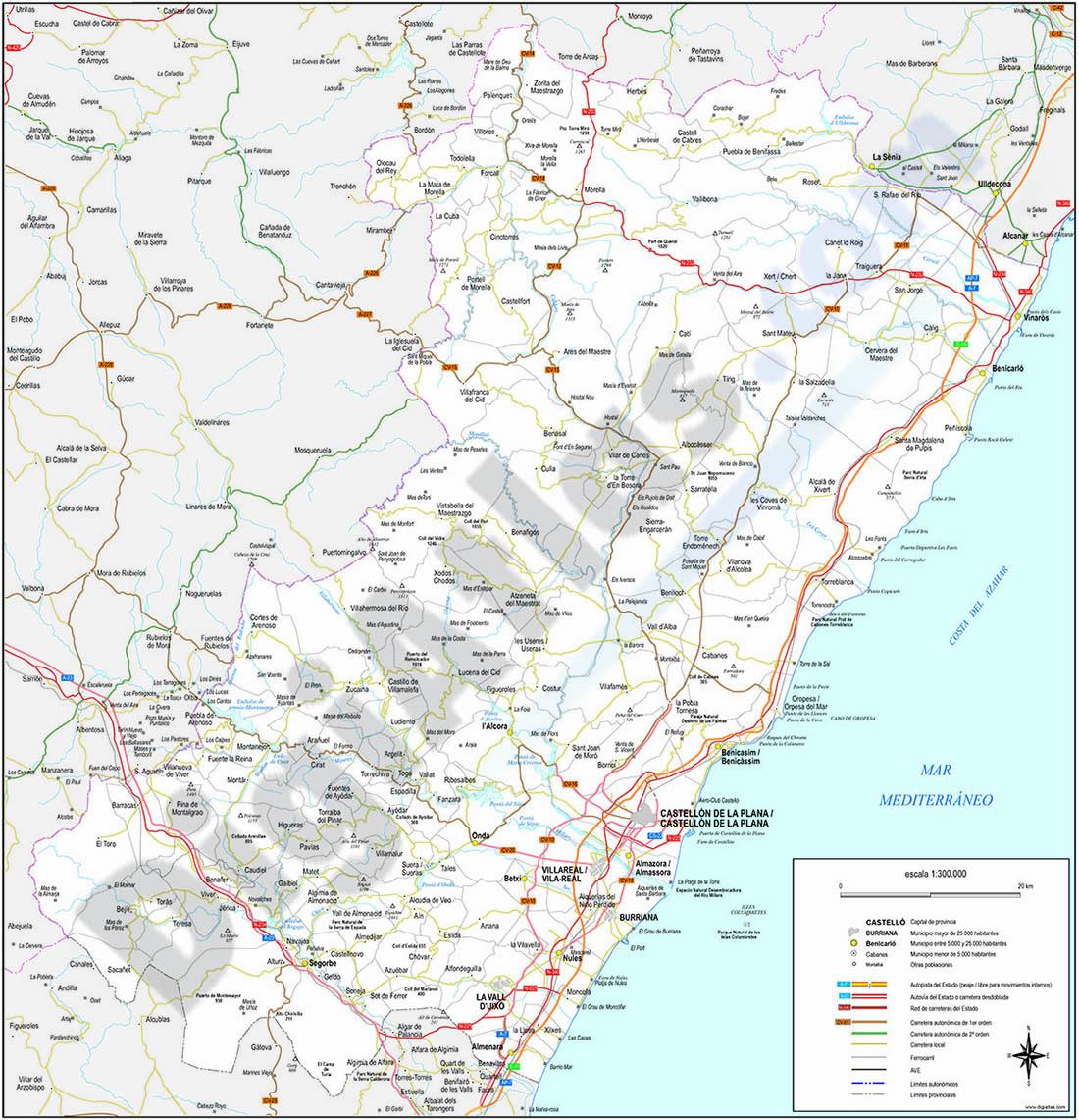 Mapa de la provincia de Castellon