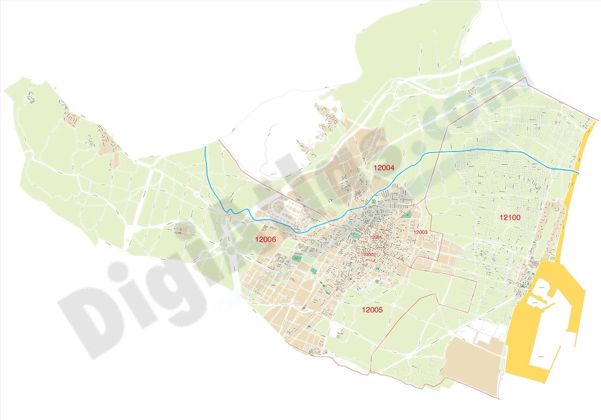 Castellón de la Plana - centro con distritos postales