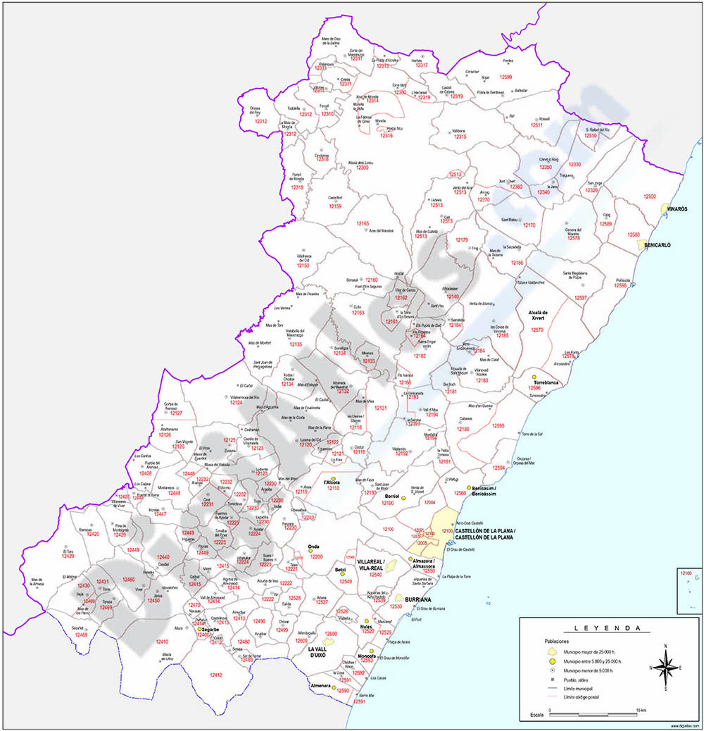 Map of Castellon province with municipalities and postal codes