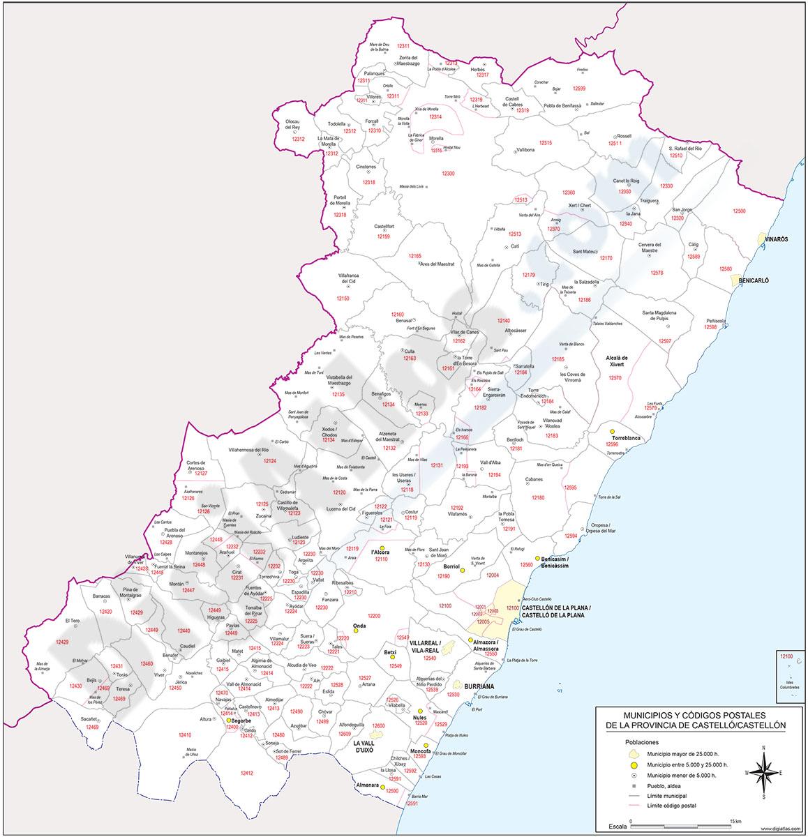 Castellón - mapa provincial con municipios y Códigos Postales