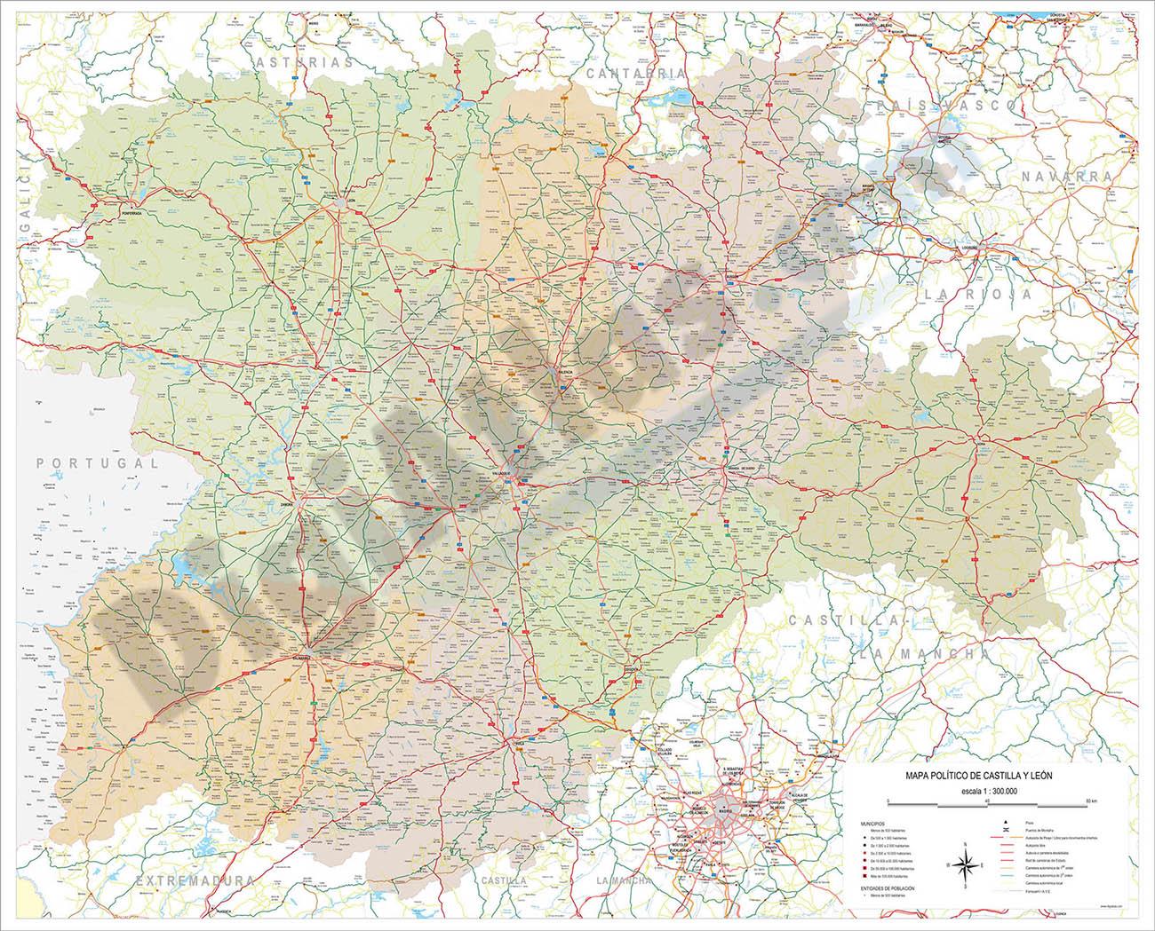 Map of Castilla y Leon autonomous community