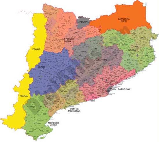 Catalonian map with comarcal and vegueries boundaries