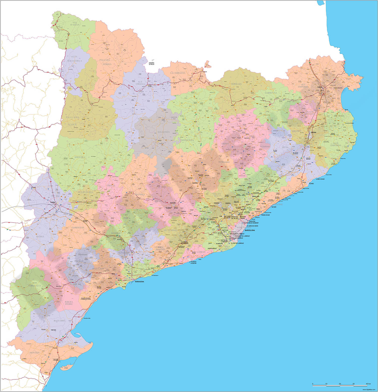 Catalonia - Map with postal codes, municipalities, comarcas and major roads
