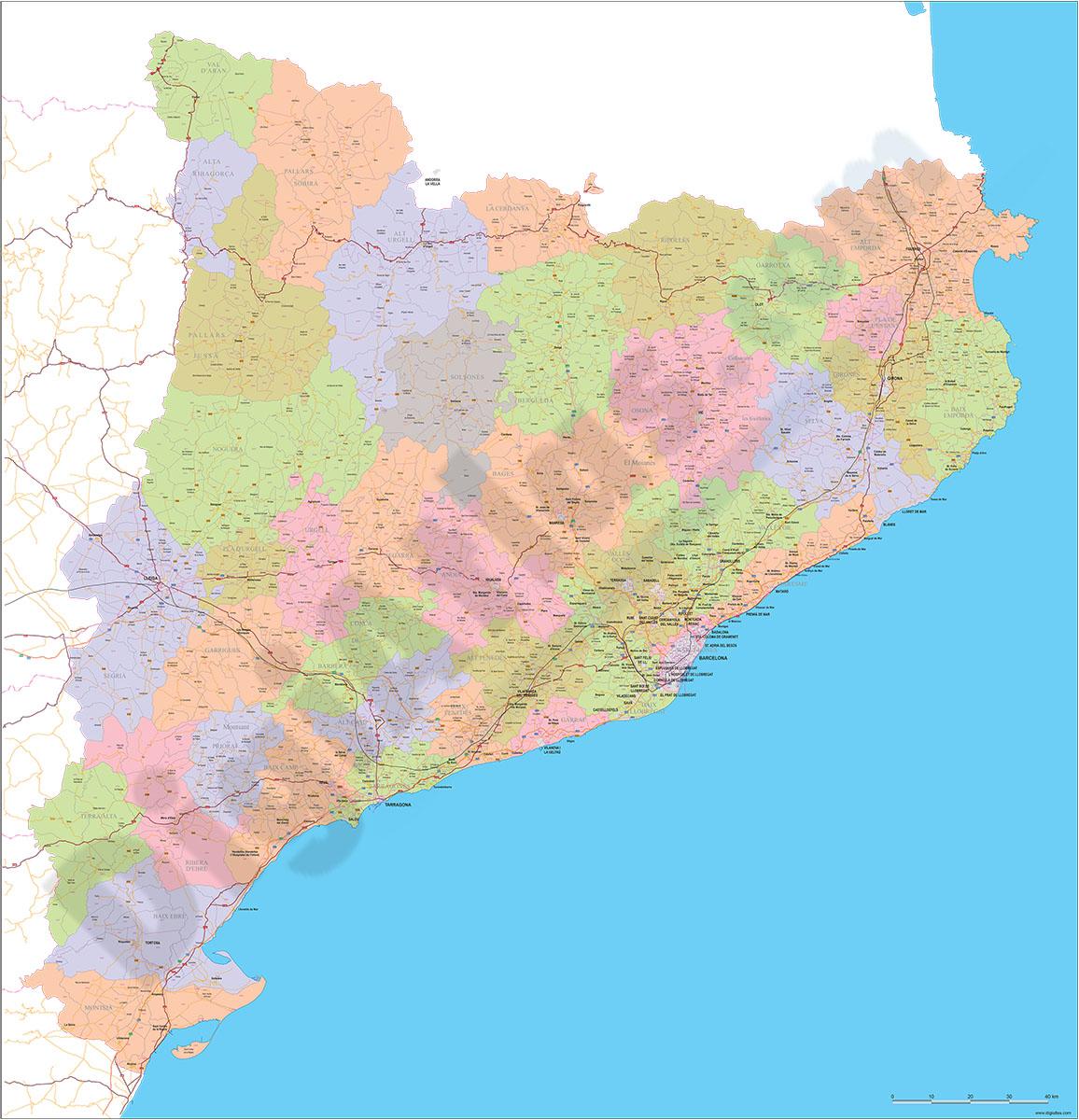Cataluña - Mapa de códigos postales con comarcas, municipios y carreteras