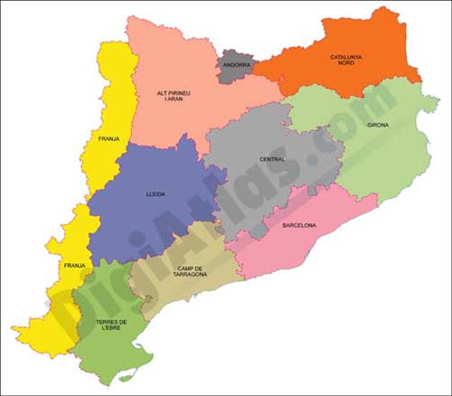 Map of Catalonia with municipalities in shapefile format