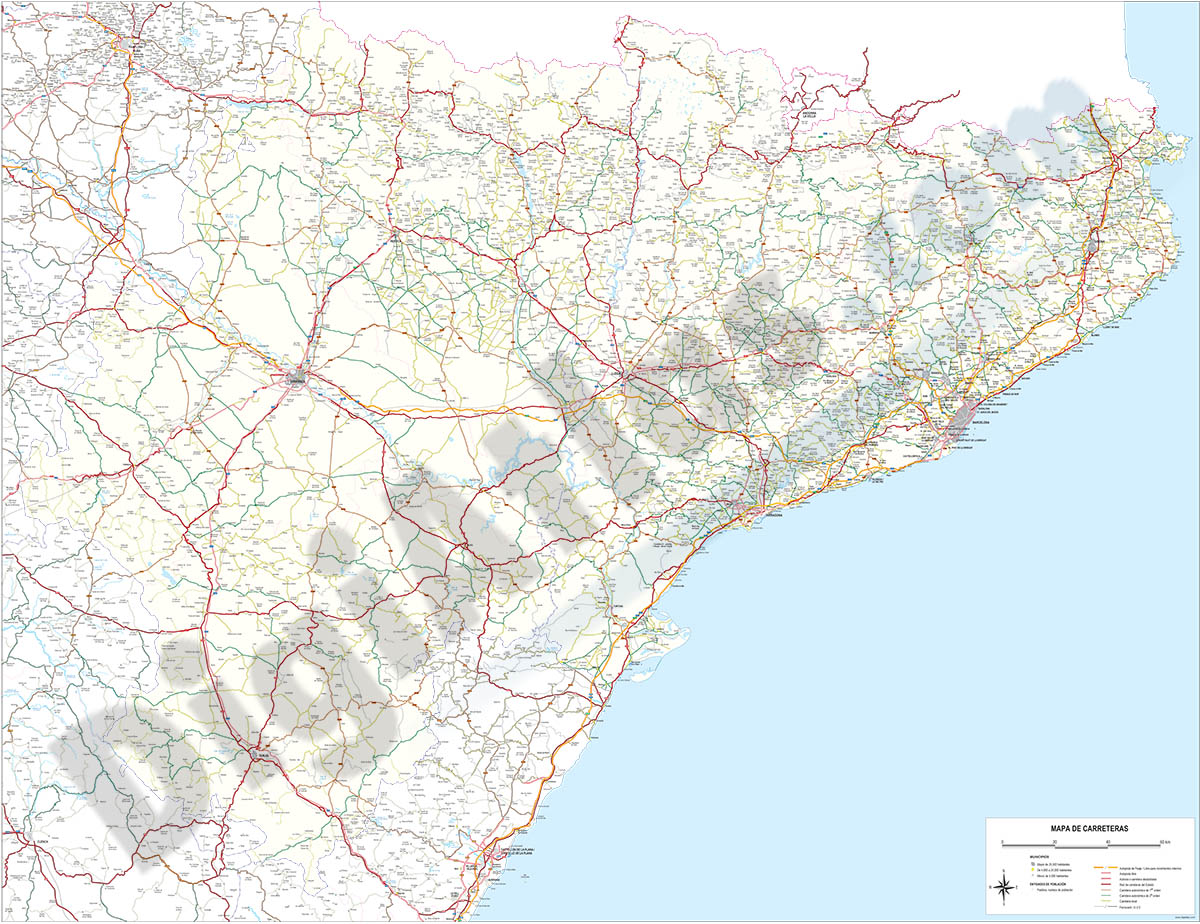 Map of Catalonia and Aragon with all roads and cities