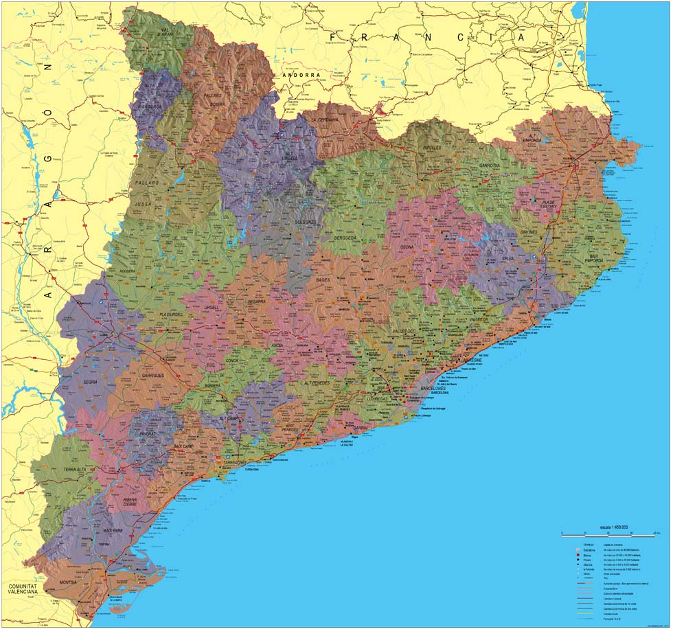 Catalonia Physical-political poster map