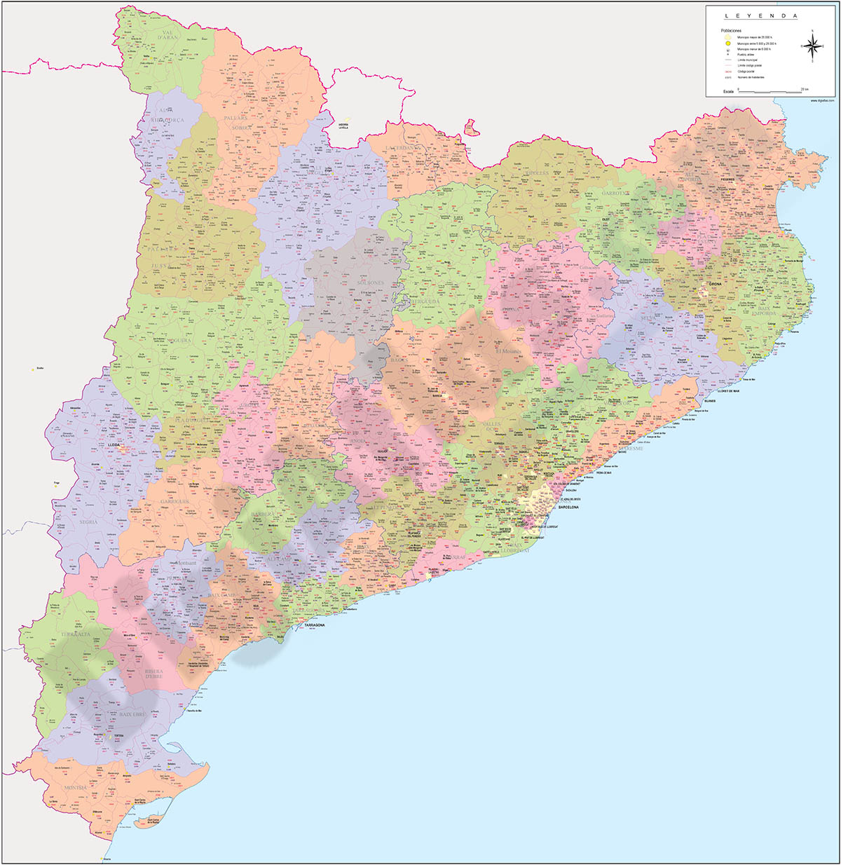 Catalonia - Map with postal codes, municipalities and the number of inhabit