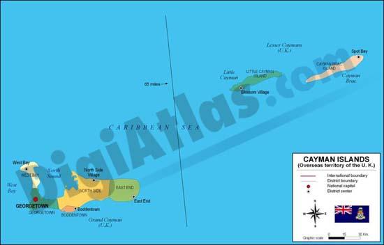 Mapa de Islas Caimán