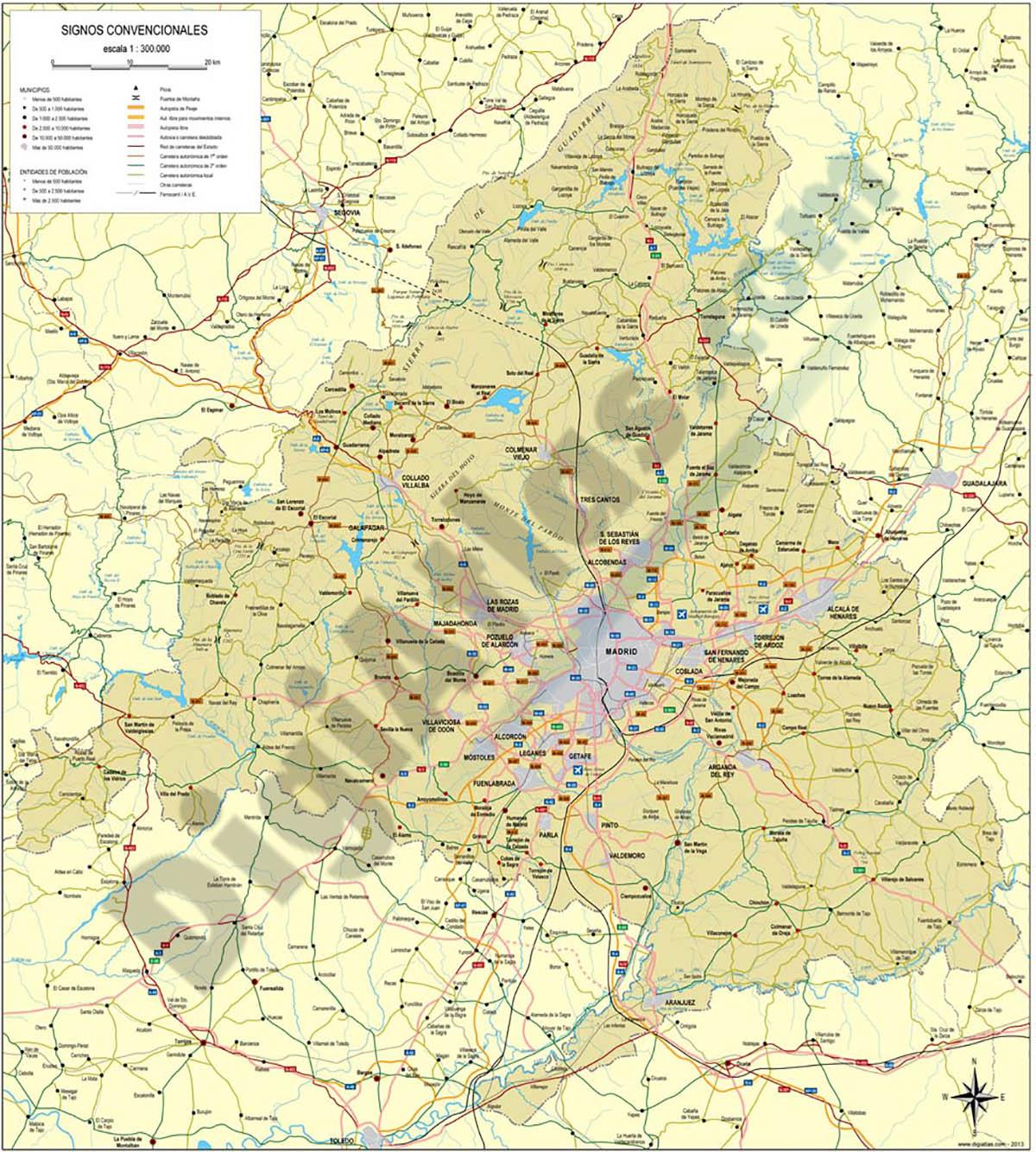 Mapa vectorial de la comunidad de madrid