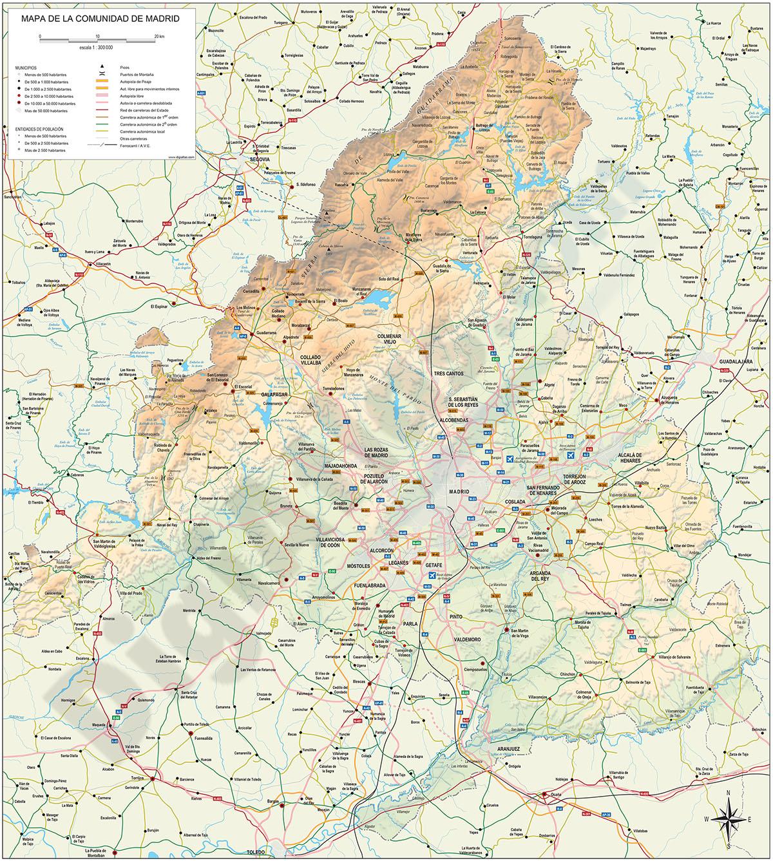 Mapa de la Comunidad de Madrid con relieve