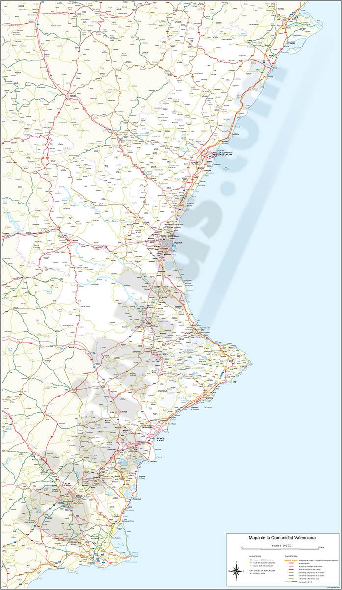 Mapa de carreteras de la Comunidad Valenciana