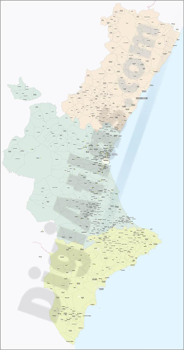 Mapa de la Comunidad Valenciana con términos municipales y poblaciones