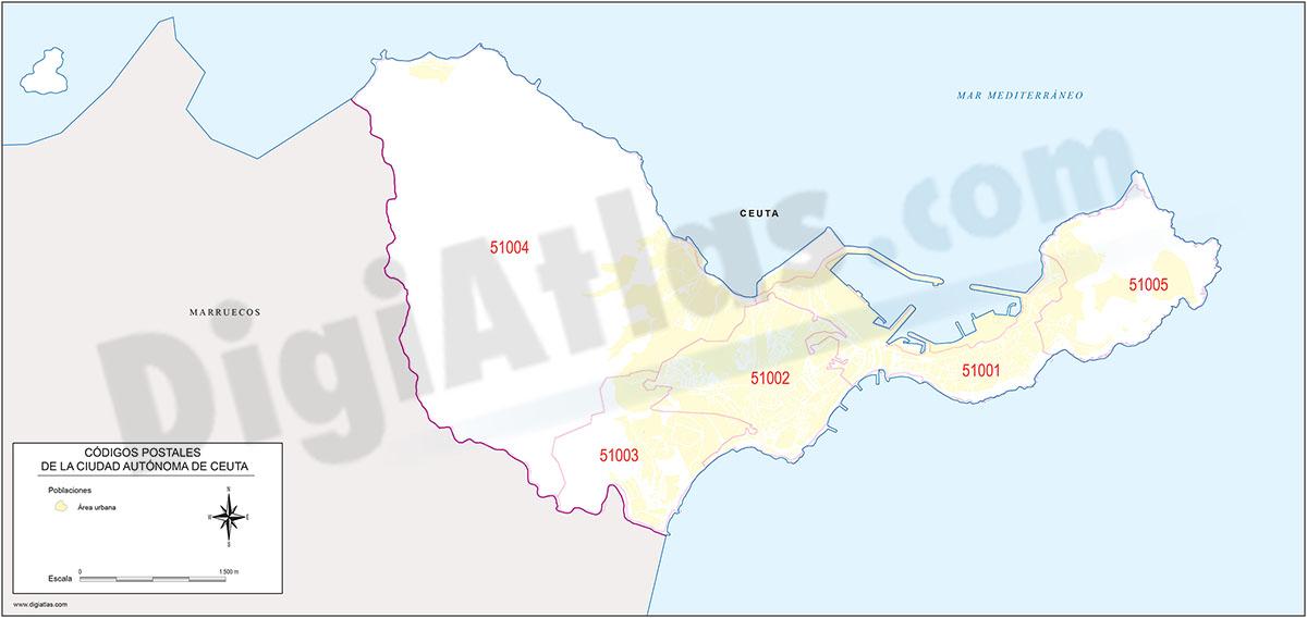 Ceuta - mapa de la ciudad autónoma con los códigos postales