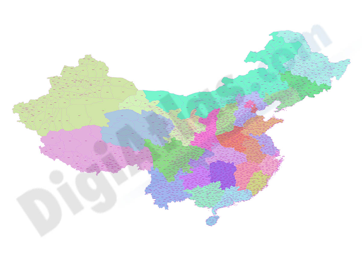 Map of China with regions and Postal Codes