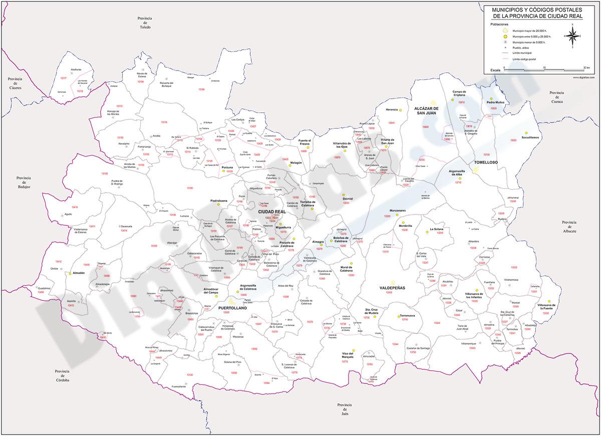 Ciudad Real - mapa provincial con municipios y Códigos Postales