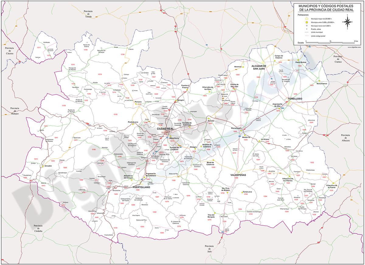 Ciudad Real - mapa provincial con Códigos Postales y carreteras
