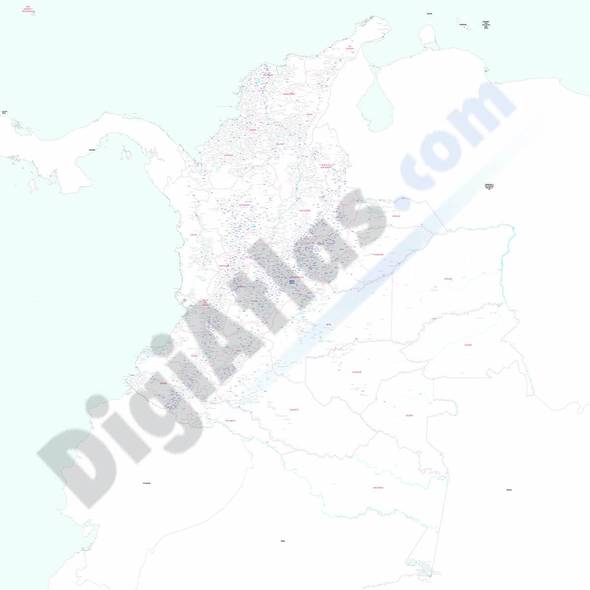 Colombia - Mapa de poblaciones
