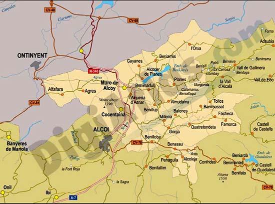 Vectorized maps digital maps increase search engine - Cocentaina espana ...
