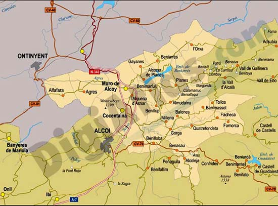 Map of Comarca of Condado de Cocentaina (province of Alicante)