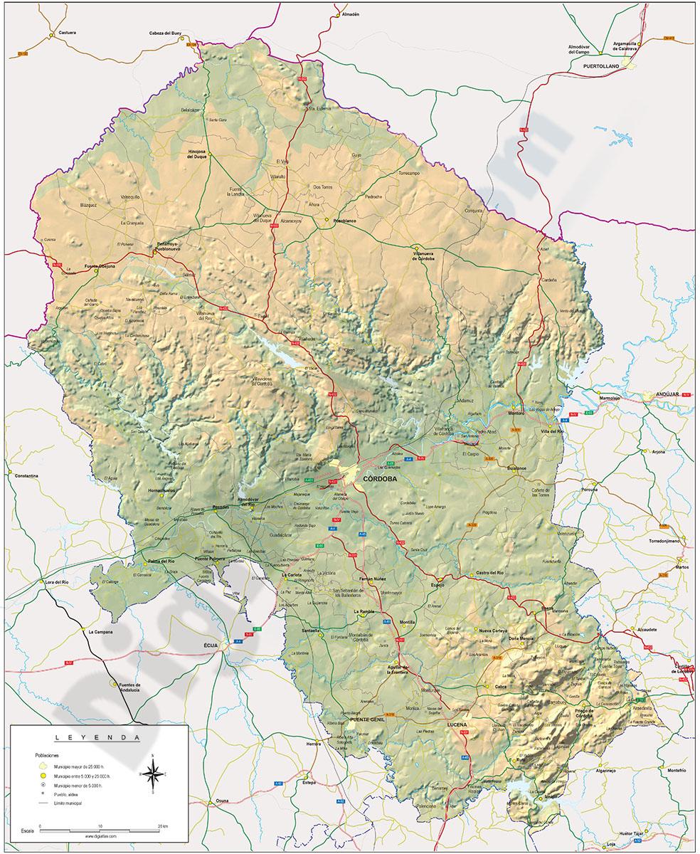 Mapa de la provincia de Cordoba