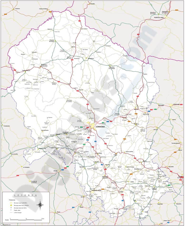 Cordoba province map with municipalities borders and major roads