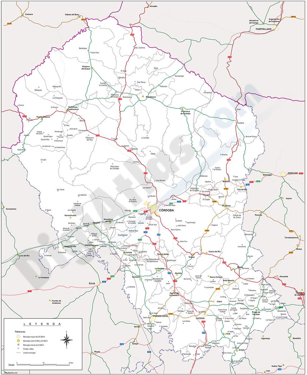 Mapa de Córdoba con términos municipales y carreteras