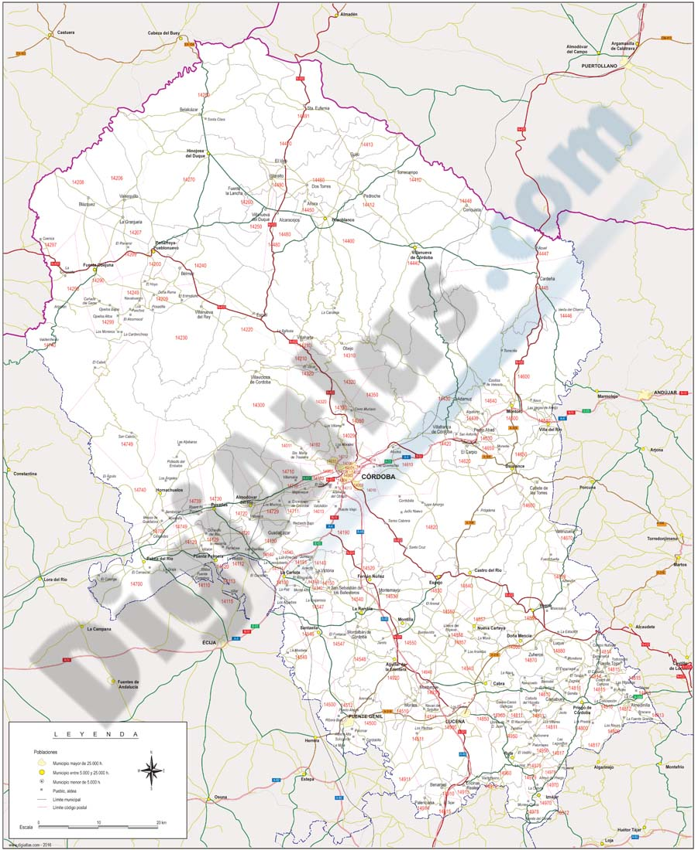 Córdoba - province map with municipalities, postal codes and roads