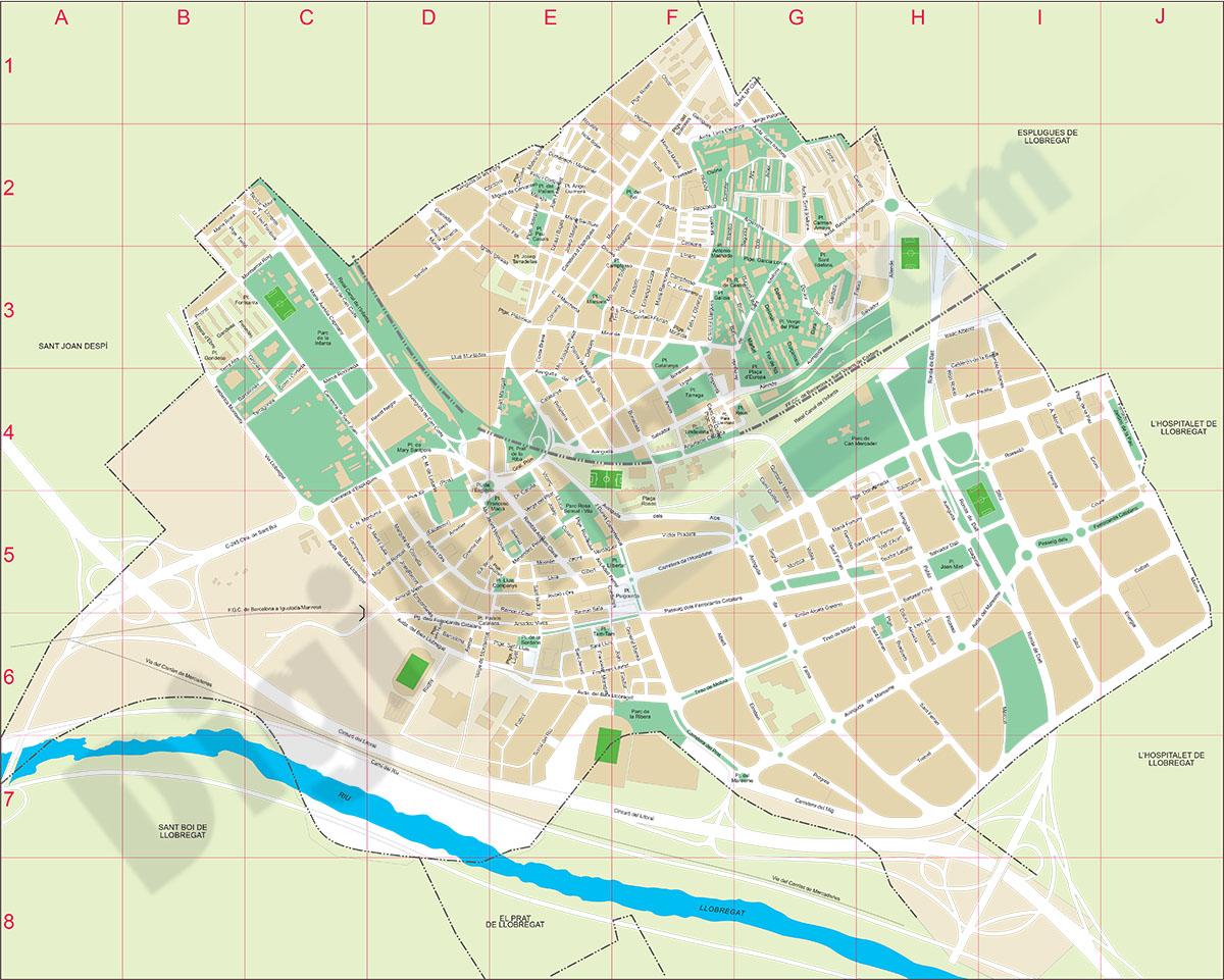 Cornellà de Llobregat city map