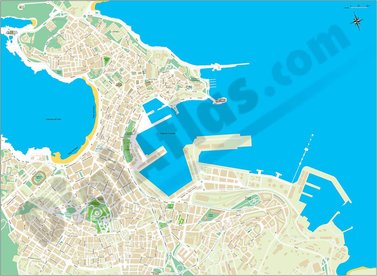 A Coruna - city map