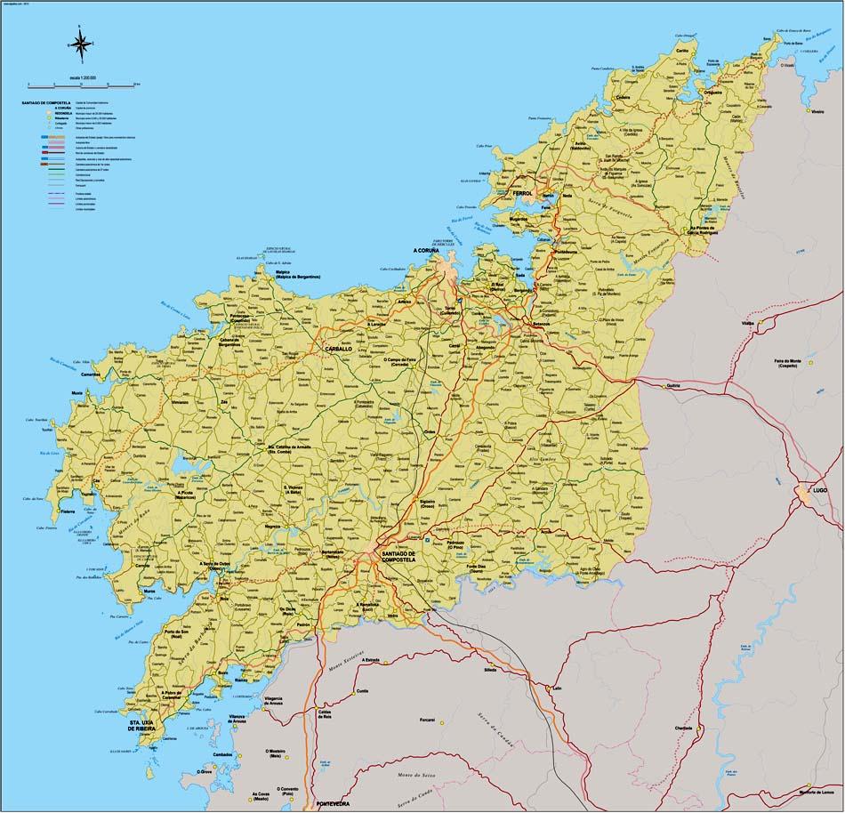A Coruña - Mapa de la provincia