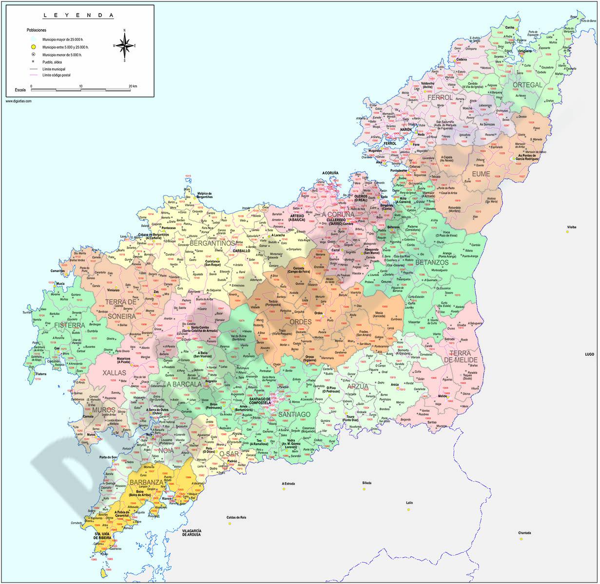 A Coruña - mapa provincial con municipios y Códigos Postales