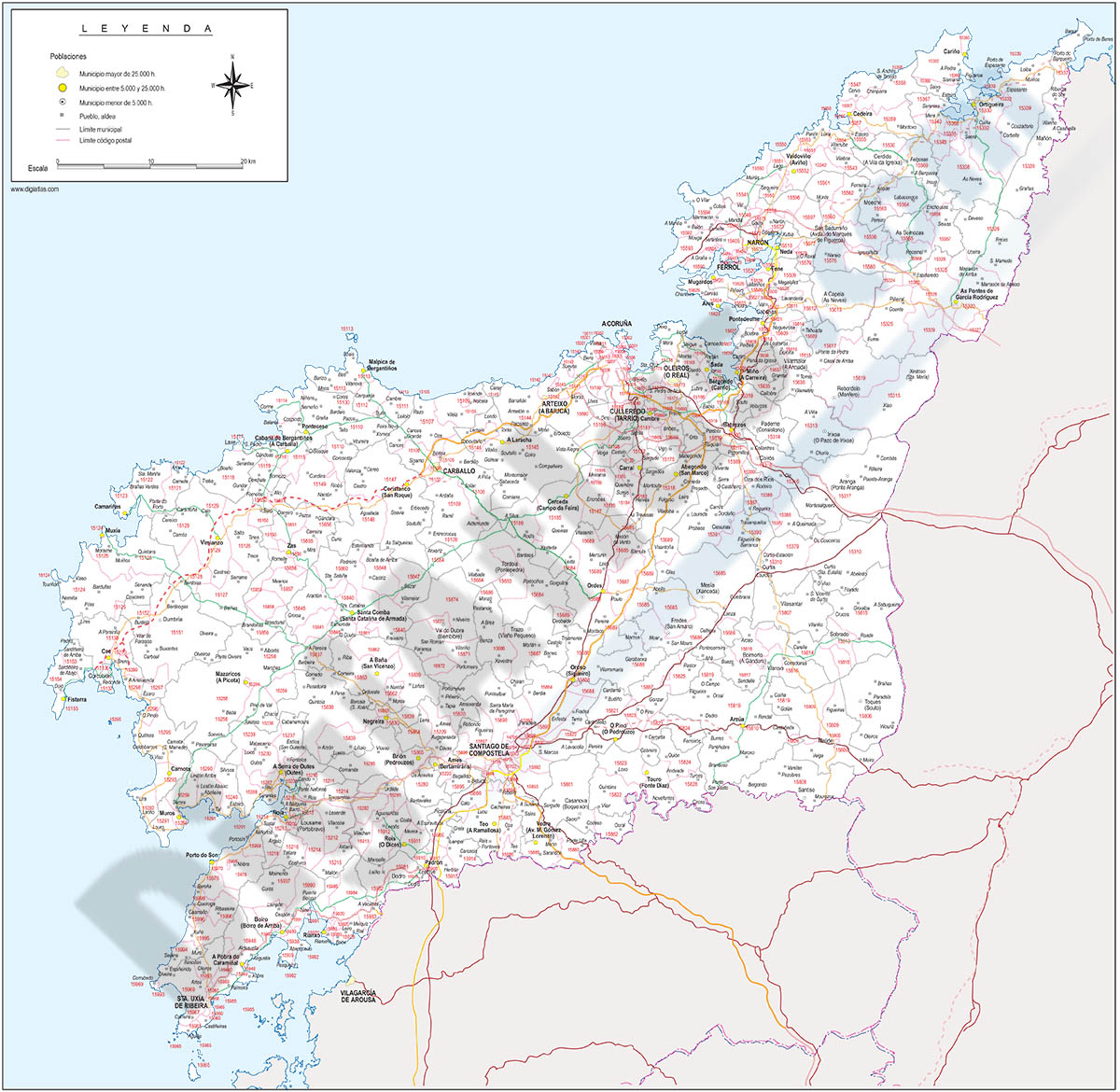 A Coruña - mapa provincial con Códigos Postales y carreteras
