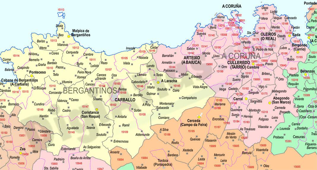 A coru a mapa provincial con municipios y c digos postales for Mapa de codigos postales de madrid capital